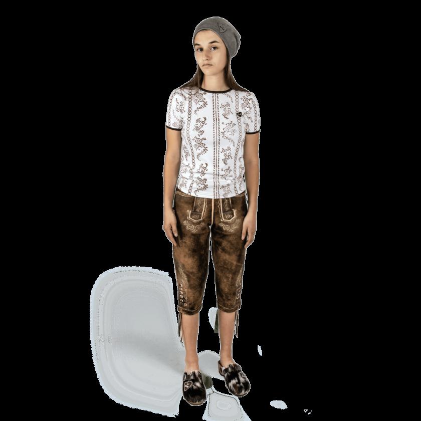 Strizi-Damen-Holzmodl-Shirt-Kniebund-Lederhose