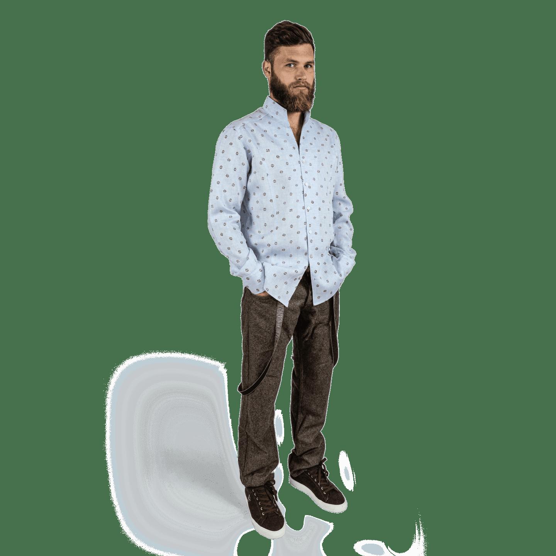 Strizi-Leinenhemd-Holzmodldruck