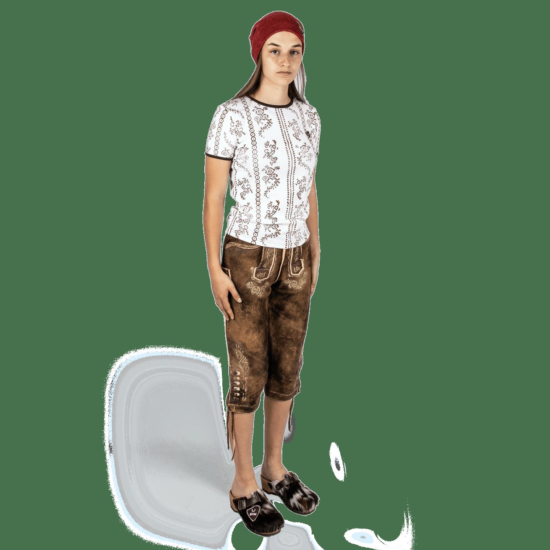 Strizi-Damen-Holzmodl-Shirt-Kniebund-Lederhose-Look