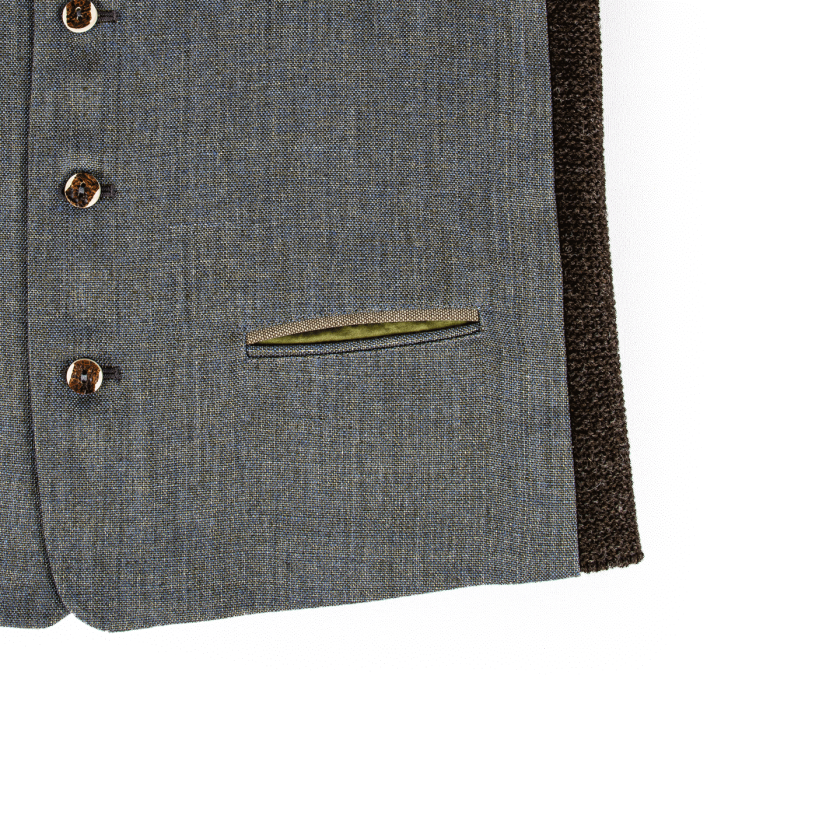 Leinenweste blau detail Strizi